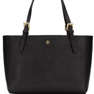 Tory Burch Emerson small buckle black tote NWT